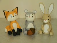 Fox, Squirrel & Rabbit Large Cake Toppers